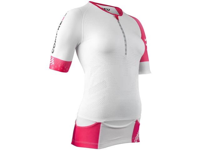 Compressport Triathlon Postural Aero Camiseta Manga Corta Mujer, white